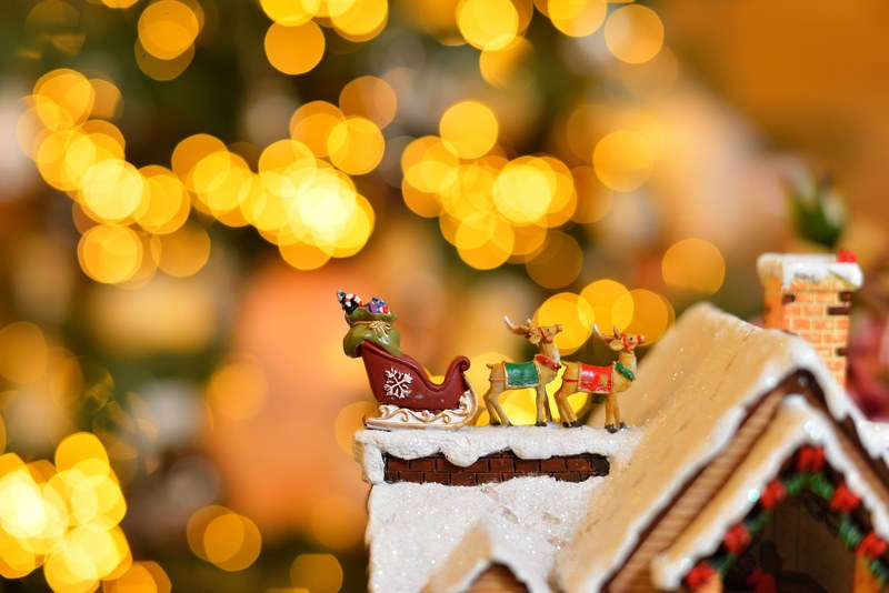 Close up adorable reindeer and santa sleigh with presents for christmas decoration